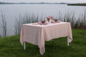 Linen tablecloth in light pink color, soft, washed. Manufacturer: AB 'Siulas'. Produced in Europe