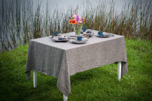 Linen tablecloth in black and grey color with pattern, washed. Manufacturer: AB 'Siulas', Lihuania