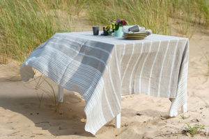 Linen stripped tablecloth, washed. Manufacturer: AB 'Siulas'