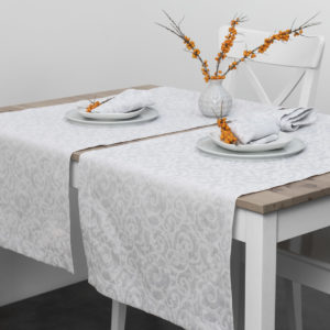 Linen table runner in grey color jacquard. Manufacturer: AB 'Siulas'
