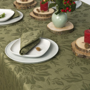 Green linen tablecloth with floral pattern. Produced by AB 'Siulas' in Lithuania