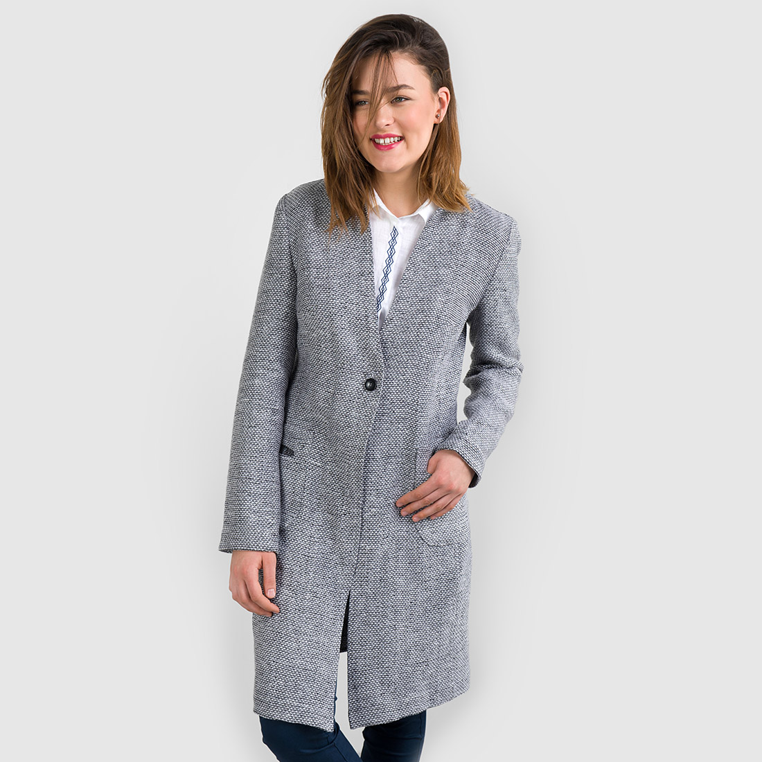 "Long linen jacket for women, black and white patterned. Manufacturer: AB ""Siulas"", Lithuania"