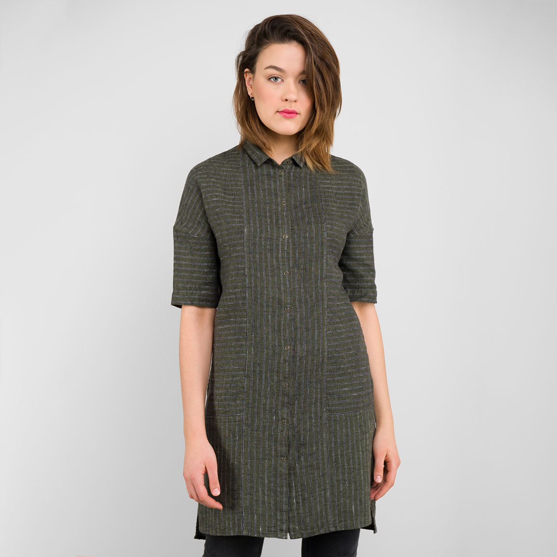 "Linen Dark Green Striped Tunic. Buttons at the front. Manufacturer: AB ""Siulas"""